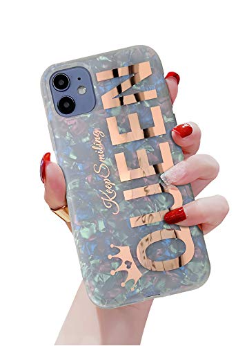 KITATA Glitter Bling iPhone 11 Case for Women Girls Rose Gold Queen Print Girly Design Sparkling, Cute Soft TPU Silicone Hybrid Protective Sparkle Slim Cover Pearly-Lustre Shell Colorful Iridescent