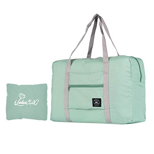 iLotusBAG Travel Foldable Duffel Bag for Women & Men,Lightweight Waterproof Carry-on Bag,Travel Luggage for Sports Gym,Travel Tote Luggage Bag(Mint Green)