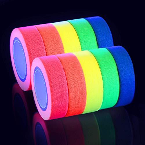 Neon Klebeband UV Schwarzlicht Klebeband Gewebeband Gaffer Tape Neon, 5 Farben x 2er, (15MM x 5M) Pro Farbe