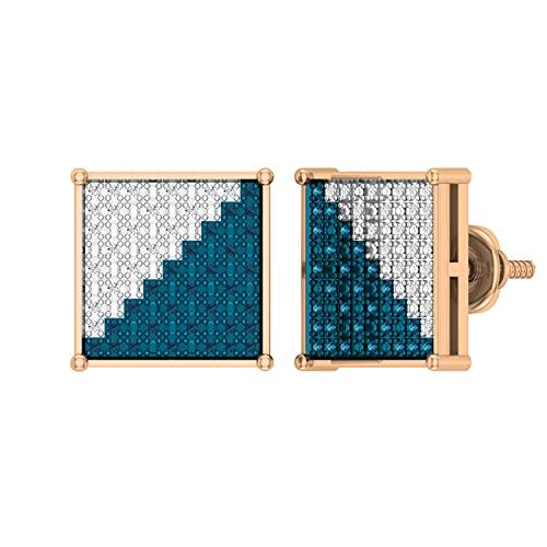 Dazzlingrock Collection Pendientes de tuerca de 0,20 quilates de diamantes redondos azules y blancos clásicos de Hip Hop con forma cuadrada para hombres de 1/5 quilates, oro rosa de 14 quilates