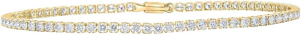 14kt Yellow Gold Womens Round Diamond Tennis Bracelet 3 Cttw