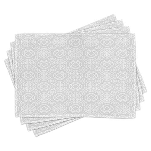 Ambesonne Celtic Place Mats Set of 4, Retro Tribal Celtic Knots Eternity Forms Pattern Boho Ireland Irish Floral Art, Washable Fabric Placemats for Dining Table, Standard Size, Grey White