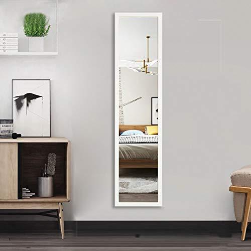 AUFHELLEN Wandspiegel 120x30cm Großer Spiegel mit Weiß Rahmen HD Ganzkörperspiegel mit Haken und Rückwand für Tür, Wohn-, Schlaf- und Ankleidezimmer (Weiß)