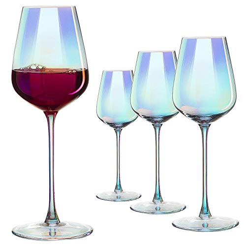 Iridescent Luster Large Wine Glasses - The Wine Savant Radiance Whimsy and Nostalgia Large Red Wine or White Wine Glass In An Elegant Gift Box, Make Entertaining An Ethereal Experience
