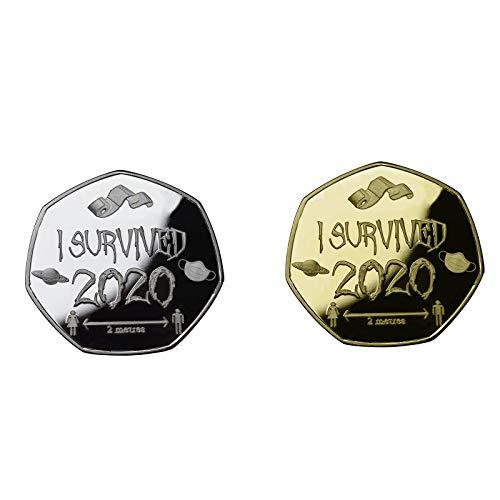 SmallYin 2 Piezas de Monedas Conmemorativas de Sobreviviente 2020 Monedas Conmemorativas de Doble Cara, Regalos Conmemorativos para Familiares y Amigos, Regalos de ColeccióN (Oro Y Plata)
