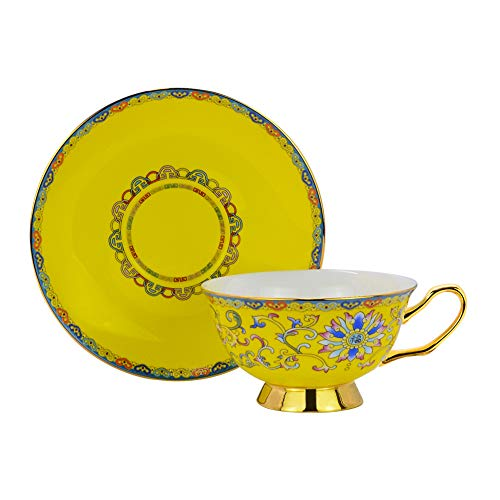 ACOOME Tea or Coffee Cup -Premium Quality Porcelain 6.8 oz Hand-made Yellow Glaze Embossed Tea Cup with Matching Saucer