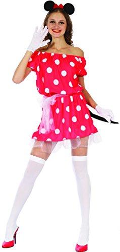 W-0136-M//L Costume Donna Topo Topina Carina Vestito Rosso Pois Bianchi Taglia M//L dressmeup