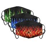 3PCS Flame Fire Face Mask Reusable Breathable Cotton Cloth Face Mask Bandanas for Kids Boys Girls