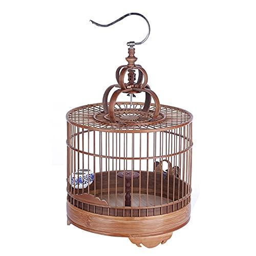 yzf Jaula de pájaros Redondos, Jaula de aldado Pulido de bambú púrpura, Jaula de Loros, con Accesorios y alimentadores giratorios, Duradero, para Todo Tipo de pájaros pequeños para Vivir