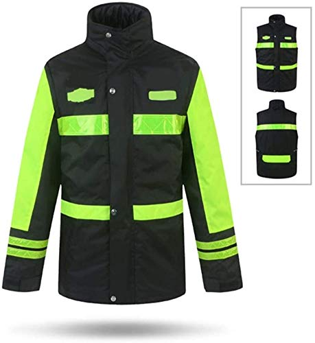 Winter Veiligheid Vesten Heren High Visibility Vest Waterdichte Regenjas dikke katoenen Pad Reflecterende Safety regenjas met capuchon Poncho For Work Outdoor Activity XMJ (Size : M)