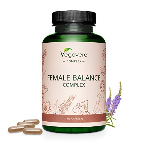 Female Balance Complex Vegavero® | Dérèglement Hormone Femme | Avec Gattilier, Maca Rouge, Alchémille, Figue de Barbarie, Riz Noir, Vitamines B et Minéraux | 180 Gélules | VEGAN