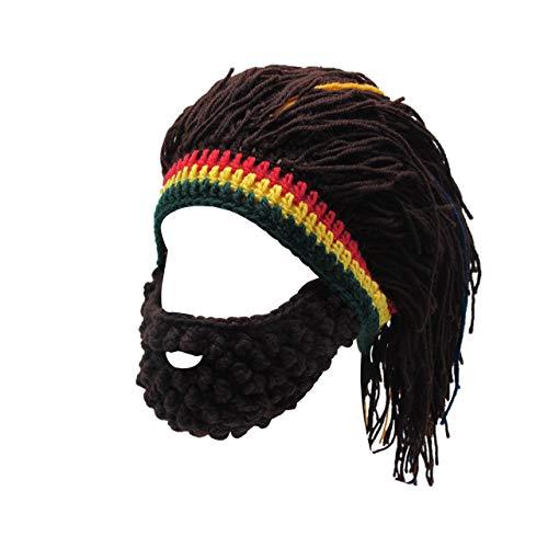 FALETO Funny Knit Beanie Beard Hat Rasta Hat with Dreadlocks Handmade Wig Fancy Halloween Caps,Brown