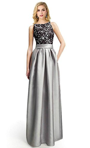 Babyonline Elegant Lace Sleeveless Formal Floor Length Prom Evening Party Dress, Silver,Silver,2