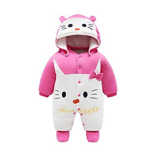 JinBei Pelele de algodón para Bebé,Bebés Niñas De Los Muchachos Mameluco Recién Nacido Calentar Juego del Cuerpo Otoño Invierno Infantil Buzos Equipar, Patrón De Gato, Rojo Rosa,9-12 Meses