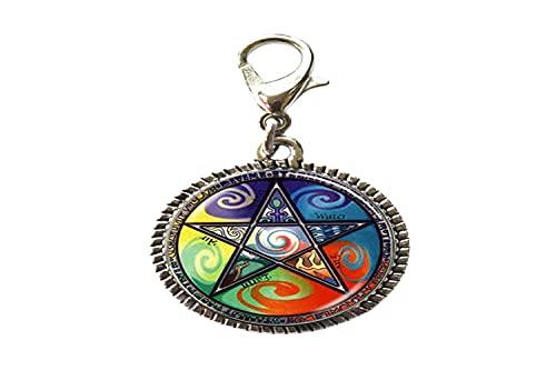 Astrología Pentagrama - Pulsera con colgante de cristal con cierre de langosta