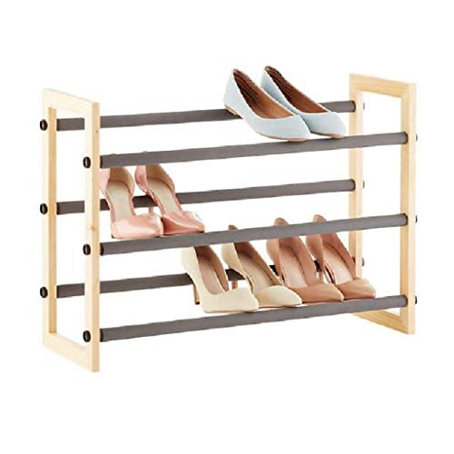 M-YN Shoe Shelf,Retractable 3 Tiers Solid Wood Shoe Rack,Shoe Storage Organizer Shelves,For Living Room,Cloakroom And Hallway, (length) 63~117cmX (width) 21cmX (height) 46cm,natural Color