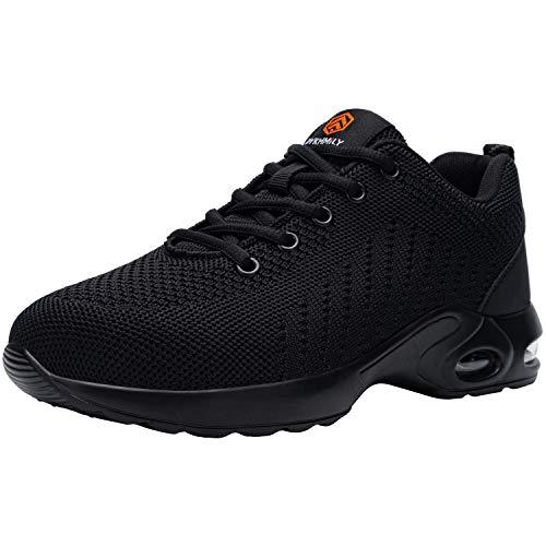 DKMILYAIR Zapatillas de Seguridad Hombre Ligeras Respirable Punta de Acero Calzado de Seguridad Deportivo Colchón de Aire Zapatos de Seguridad Trabajo (Negro,46 EU)