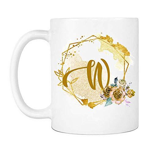Taza de la dama de honor de la abuela del día de la madre de la letra W de la acuarela, tazas de café de cerámica del regalo del amante de las flores que dicen blanco, 11oz