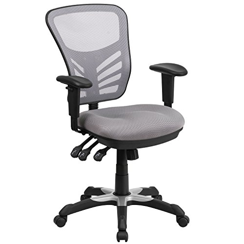 Flash Furniture Gray Mid-Back Mesh Chair, 25.75