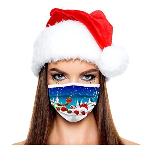 SicongHT Weihnachts Druck Mundschutz, Weihnachten Staubschutz Atmungsaktive, Erwachsene Einweg Halstuch Bandana Mund und Nasenschutz Mund-Nasen Bedeckung(100 Stück,D)