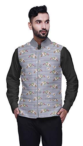Atasi Vogel Printed Nehru Jacke Herren Bandhgala Ethnische Jacket-Party Wear Hochzeit Kleidung-X-Large