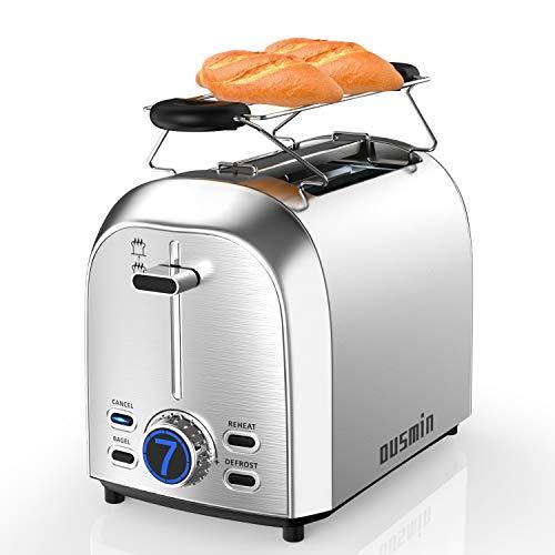 Toaster, OUSMIN Toaster Edelstahl Doppelschlitz Brötchenaufsatz 7 Bräunungsstufen mit LED Anzeige, Breit Schlitz, Brotzentrierung, Krümelschublade, Auftau, Aufwärm Stopp Funktion, 850W