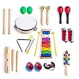 Yooson 12 en 1 Instrumentos musicales Xilófono Set de percusión Juguete Ritmo Banda Set Tambor Maracas Huevo Shaker para Niños, Niños, Niños