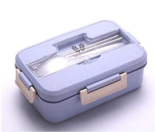 DDPP Juego de Fiambrera para niños, con Pajita de Trigo Natural, sin BPA, 3 Compartimentos, a Prueba de Fugas, contenedor de Comida,Azul