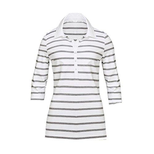 Modisches Damen Polo Shirt mit 3/4 Arm in Navy Blau, Gelb und Weiß mit grauen Streifen Größen M-XL (XL, Weiß)