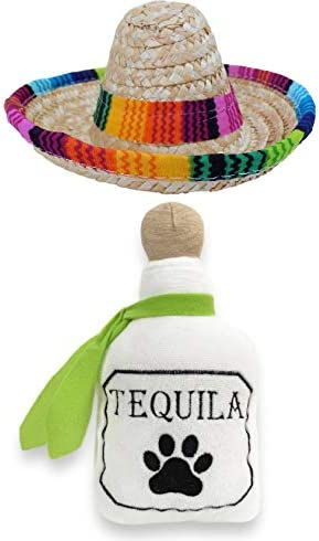 Baja Ponchos Dog Sombrero and Tequila Plush Toy Pack Funny Dog Costume and Chew Squeak Toy Chihuahua product image