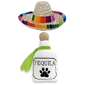Baja Ponchos Dog Sombrero and Tequila Plush Toy Pack – Funny Dog Costume and Chew Squeak Toy – Chihuahua Clothes – Mexican Party Decorations