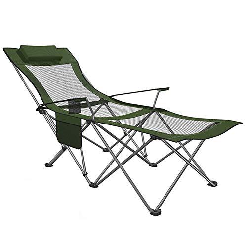 Chaise de Camping, Chaise de Camping Pliante avec Repose-Pieds - Chaise Longue de Camping inclinable en Mesh avec Porte-gobelet et Sac de Rangement - Supporte 120 kg (Color : Forest Green)