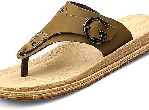 NTX Herren Schuhe Outdoor Casual Leder Stoff Flip Flops, Gelb Khaki
