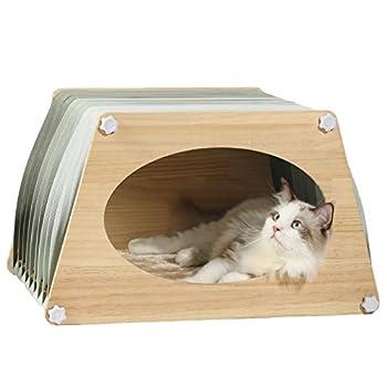 Petsfit Niche Chat Maison pour Chat Niche pour Chat avec Sangle réglable et Coussin, Facile à Assembler, Convient pour L'été et l'hiver