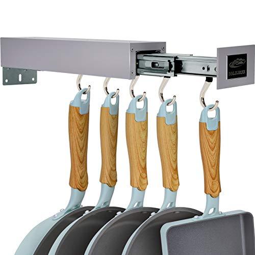 SOLEJAZZ Soporte para ollas Bar Soporte para utensilios de cocina Perchero para utensilios de cocina con 5 ganchos ajustables, organizador de despensa extraíble y almacenamiento, gris