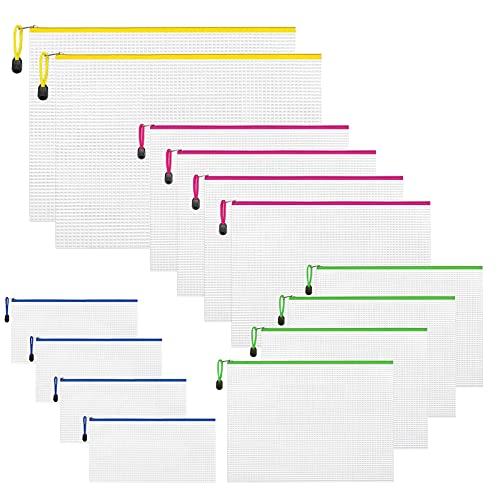 Nordun 14 Piezas Bolsas de Documentos A3+A4+B5+A6,Bolsa de Archivo de Cremallera Carpetas de Documentos,Carpetas de Plástico para Cosméticos Suministros de Oficina Accesorios,Varios tamaños