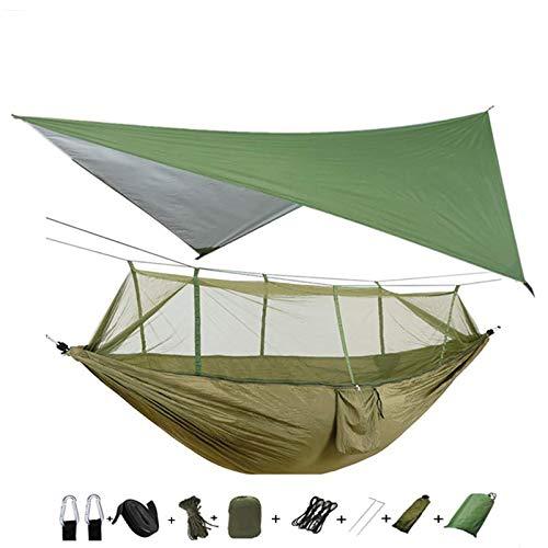 WPC Brands Hamacas ligeras y portátiles para acampar y tienda de campaña, toldo de lluvia y mosca, impermeable, mosquitero, hamaca de nailon 210T, hamaca multipersona (color verde y verde)