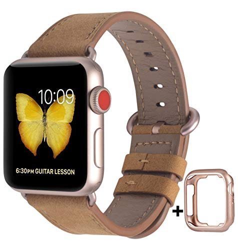 JSGJMY Compatible with Apple Watch Band 38mm 40mm 42mm 44mm Women Men Genuine Leather Replacement Strap for iWatch Series 5 4 3 2 1 (Gold Matte Leather with Rose Gold Clasp, 38mm/40mm S/M)