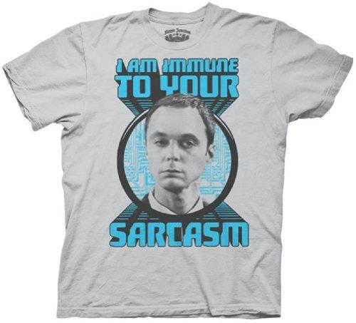 Big Bang Theory Sheldon Immune to Sarcasm T-Shirt (Small/light grey)