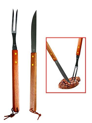 vetrineinrete® Kit Barbecue 2 Utensili Coltello e forchettone in Acciaio Inox per Grill Carne braciata Manico in Legno Attrezzi da Cucina 60199 G23
