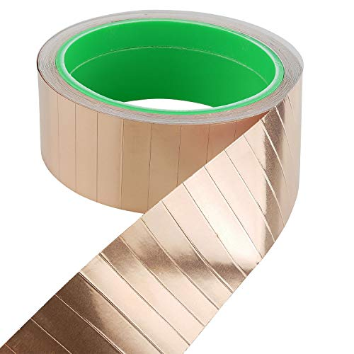 AIXONTEC 3 m Kupferband Kupfer Abschirmband Kupferfolie ca. 330 Kupferbandstreifen 35x9 mm Fixierung Kabel Kupfer Geflechts copper foil tape beidseitig leitfähig einseitig selbstklebend 3 Meter
