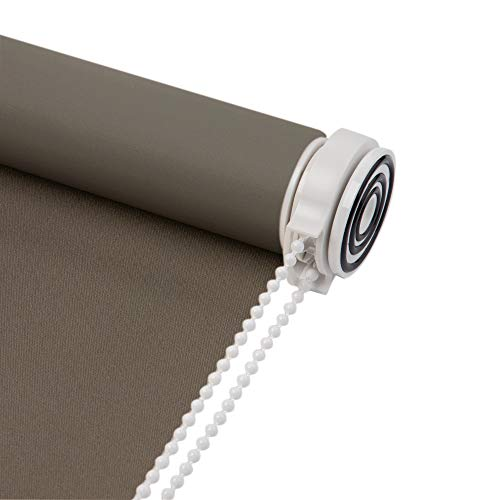 Skansen Water Proof Fabric Tension Roller Blinds No Need to Drill for Kitchen and Toilet, Room Darkening,Customized Size (Brown)