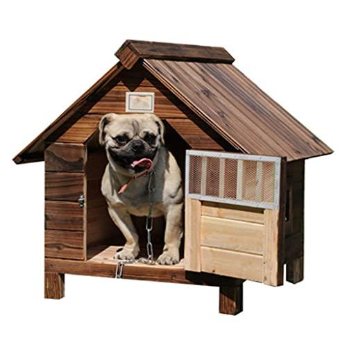 Casa para Perros de Madera al Aire Libre con Puerta, Ventana, Mascota, cabaña de Troncos, Perrera, Resistente a la Intemperie, Impermeable, con Techo extraíble, Muebles para Mascotas para el hogar,