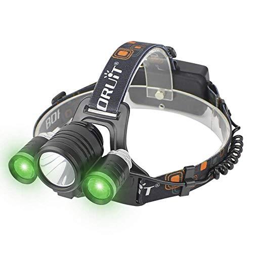 Linterna frontal LED superbrillante 5000 lúmenes linterna frontal recargable por USB 3 modos de iluminación IPX5 impermeable ajustable y cómoda diadema (incluye 2 pilas 18650)