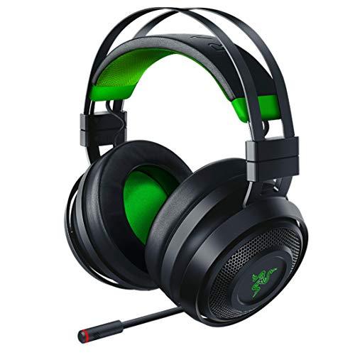 Razer Nari Ultimate for Xbox One Wireless 7.1 Surround Sound Gaming Headset: Hypersense Haptic Feedback - Auto-Adjust Headband - Green Lighting - Retractable Mic - For Xbox One - Classic Black/Green