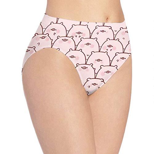 XCNGG Bragas Ropa Interior de Mujer 3D Print Soft Women's Underwear, Pink Pig Cartoon Fashion Flirty Lady'S Panties Briefs Medium
