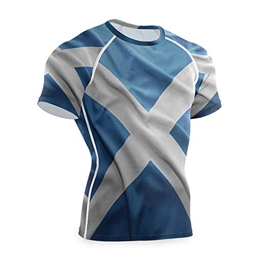 Magnesis Scottish Flags - Camiseta de compresión de manga corta para hombre