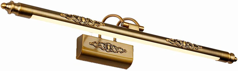 TopDeng Wandleuchte Spiegel Antik LED Spiegel lampe Beleuchtung Bad Make-up Lampe Wandlampe Befestigung Acryl Schattierungen-Warmes Licht 70cm+12W