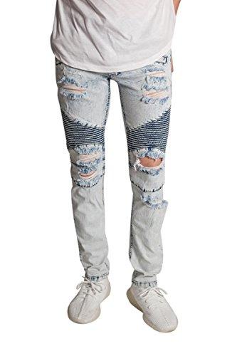KDNK Destroyed Moto Jeans w/Zipper (32, Ice Blue)