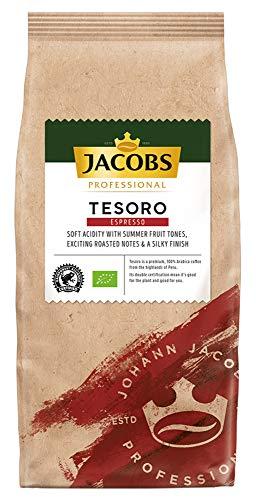 Jacobs Professional Tesoro Espresso, 1kg Bohnenkaffee, ganze Bohne, ausbalanciert, fruchtiges Aroma, ideal für Milchspezialitäten, 100% Arabica, Bio- und Rainforest Alliance zertifiziert